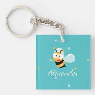 Cute Blue Green Sweet Bumble Bee Flowers Cartoon Double-Sided Square Acrylic Key Ring