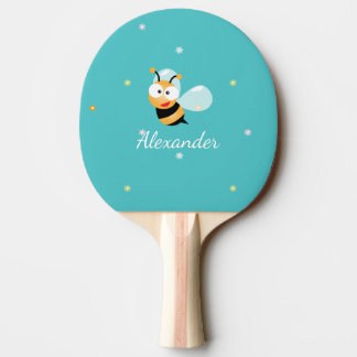 Cute Blue Green Sweet Bumble Bee Flowers Cartoon Ping Pong Paddle