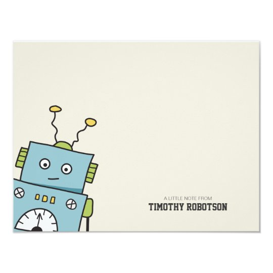 Cute Blue Hand Drawn Robot Card