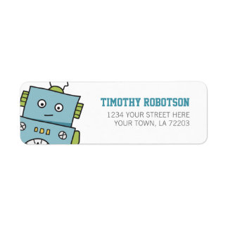 Cute Blue Hand Drawn Robot Return Address Label