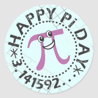 Cute Blue Happy Pi Day Stickers - Pi Day Gift