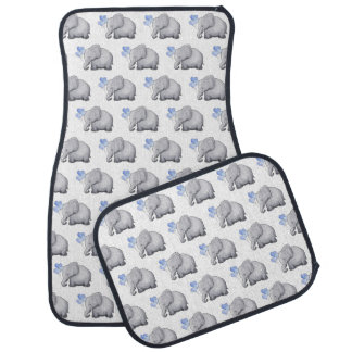 Cute Blue Heart Balloons Baby Elephants Pattern Car Mat