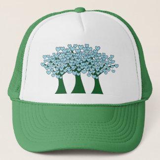 Cute Blue Hearts Trees Print Trucker Hat
