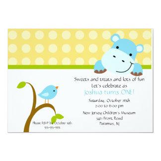 "Cute Blue Hippo Birthday Invitation 5"" X 7"" Invitation Card"