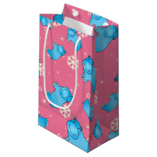 Cute blue hippo christmas pink snowflakes small gift bag