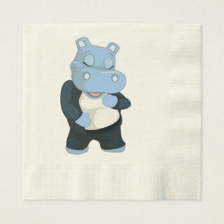 CUTE BLUE HIPPO DISPOSABLE SERVIETTES