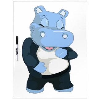 CUTE BLUE HIPPO DRY ERASE BOARD