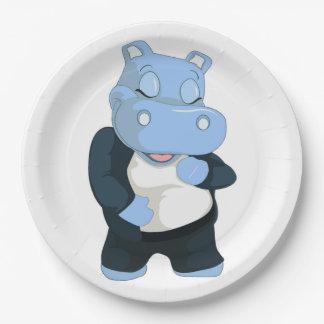 CUTE BLUE HIPPO PAPER PLATE