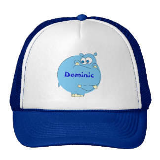 Cute Blue Hippo Personalized Boys Name Hat