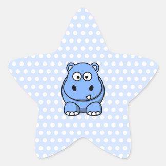 Cute Blue Hippo Star Sticker