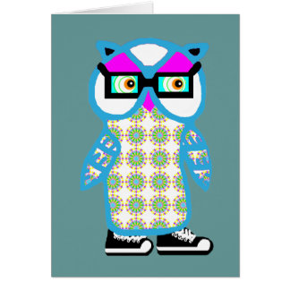 Cute Blue Hipster Owl Blank Greeting Card