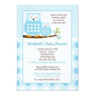 "Cute Blue Hoot Owls 5x7 Baby Shower Dot Invite 5"" X 7"" Invitation Card"