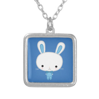 Cute Blue Kawaii Bunny Square Pendant Necklace