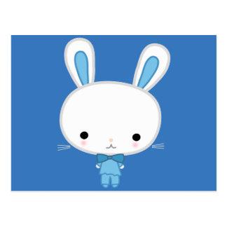 Cute Blue Kawaii Bunny Postcard