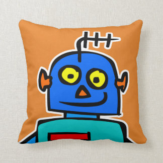 Cute Blue Kids Robot Orange Throw Pillow Cushion