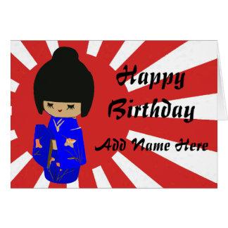 Cute Blue  Kokeshi Doll on rising sun Card