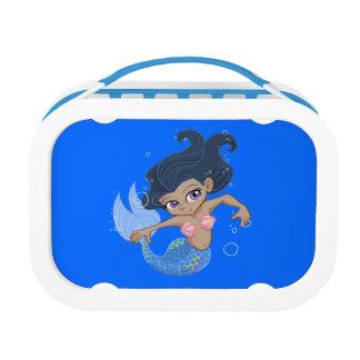 Cute Blue Mermaid (dark hair, dark skin) Lunch Boxes