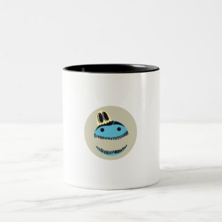 CUTE BLUE MONSTER FACE WITH HIS GHOST FRIEND MUG