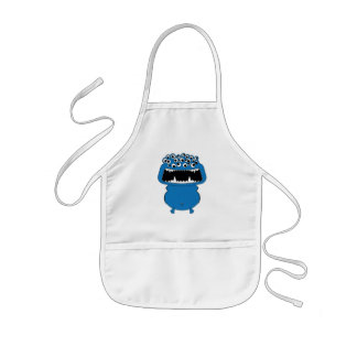 Cute blue monster kids apron