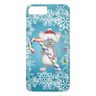 Cute Blue Mouse Holding Candy Cane Holliday iPhone 7 Plus Case