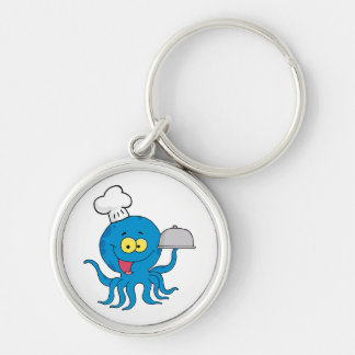 cute blue octopus chef with serving platter Silver-Colored round key ring