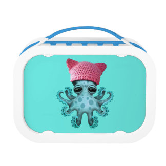 Cute Blue Octopus Wearing Pussy Hat Lunch Box