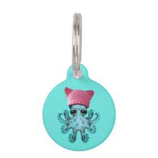 Cute Blue Octopus Wearing Pussy Hat Pet Name Tag