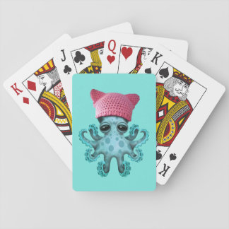 Cute Blue Octopus Wearing Pussy Hat Playing Cards