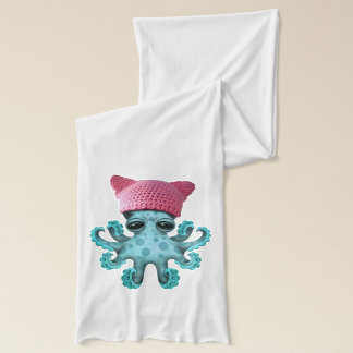 Cute Blue Octopus Wearing Pussy Hat Scarf