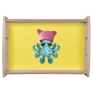 Cute Blue Octopus Wearing Pussy Hat Serving Tray