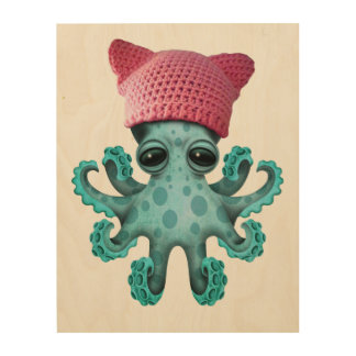 Cute Blue Octopus Wearing Pussy Hat Wood Print