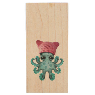 Cute Blue Octopus Wearing Pussy Hat Wood USB Flash Drive