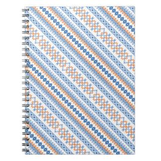 Cute blue orange Aztec Tribal Motif Notebook