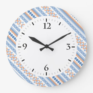 Cute blue orange Aztec Tribal Motif Pattern Large Clock
