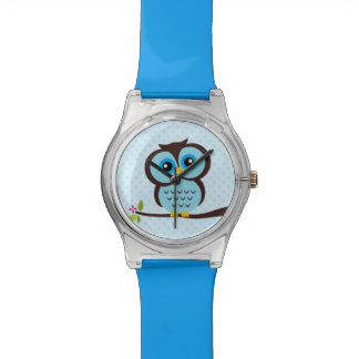 Cute Blue Owl and Polka Dots Wristwatch