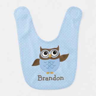 Cute Blue Owl Baby Boy Bib