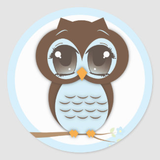 Cute Blue Owl Baby Shower for a Boy Round Sticker