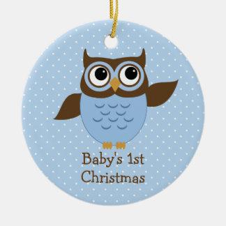 Cute Blue Owl Baby's 1st Christmas Ornament