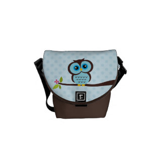 Cute Blue Owl Courier Bag