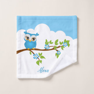 Cute blue owl on a branch bath towel set