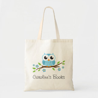Cute blue owl on branch personalized library book