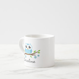 Cute blue owl on floral branch personalized name espresso cup