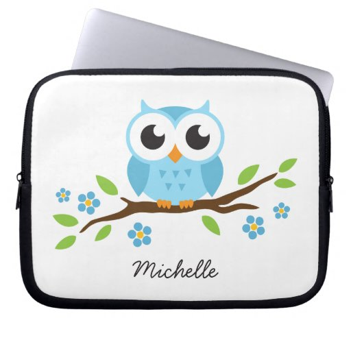 Cute blue owl on floral branch personalized name laptop computer sleeve