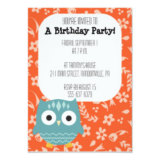 Cute Blue Owl Party Invitation
