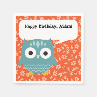 Cute Blue Owl Personalized Party Napkins Disposable Napkins