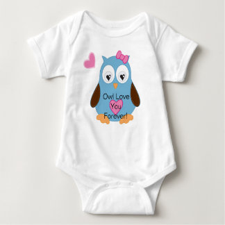 Cute Blue Owl with Pink Hearts Baby Bodysuit