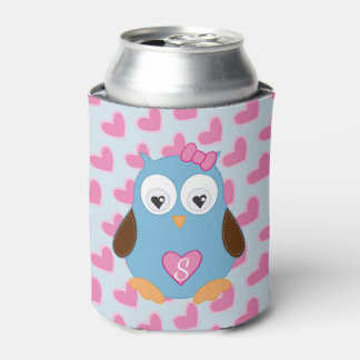 Cute Blue Owl with Pink Hearts Monogrammed Can Cooler