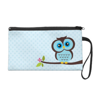 Cute Blue Owl Wristlet Purses