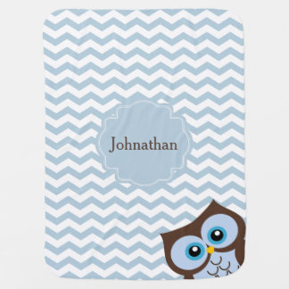 Cute Blue Owl Zigzag Pattern Custom Baby Blanket