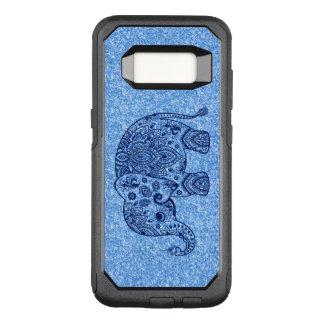 Cute Blue Paisley Elephant Blue Glitter.
